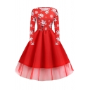 Womens Vintage Fancy Long Sleeve Round Neck Santa Claus and Snow Print Mesh Patched Long Pleated Flared Christmas Dress