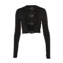 Cool Fashion Women's Long Sleeve Crew Neck Buckle Detail Slim Fit Crop Tee in Black