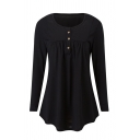 Women Basic Plain Long Sleeve Crew Neck Button Front Ruched Curve Hem Loose Tee