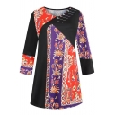 Female Ethnic Long Sleeve Round Neck Floral Printed Relaxed Fit Long T-Shirt in Red