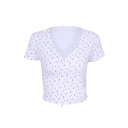 Cute Girls' Short Sleeve Surplice Neck All Over Floral Print Bow Tie Back Slim Fit Tee