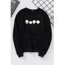 Basic Cute Long Sleeve Crew Neck Panda Print Relaxed Pullover Sweatshirt for Women