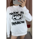 Fancy Letter ME WANT WOMAN Printed Long Sleeve Mock Neck Graphic Sweatshirt