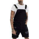 Simple Plain Black Ripped Shredded Roll-Up Hem Loose Fit Jeans Shorts Overalls