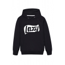 Simple Letter LAZY Printed Long Sleeve Loose Fit Side Pockets Drawstring Hoodie