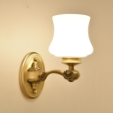 Traditional Style Bell Sconce Light Fixture 1/2-Light Milky Glass Wall Light Fixture in Brass for Bedroom
