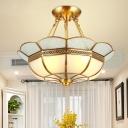4/6-Bulb Metal Ceiling Mount Chandelier Traditional Brass Scalloped Dining Room Semi Flush Light, 18