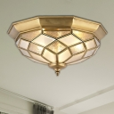 Gold 3/5 Lights Ceiling Mount Classic Frosted Class Faceted Flush Light Fixture for Bedroom, 18