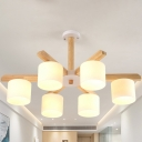 Nordic Style 6/8 Bulbs Chandelier Light with Milky Glass Shade Wood Finish Drum Hanging Light Fixture