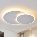 Round Acrylic Ceiling Light Simple Style Coffee/White LED Flush Light Fixture in Warm/White Light, 16