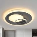 Oval Flush Mount Light Contemporary Acrylic Gray 16