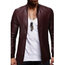 Mens Stylish Plain Long Sleeve Stand Collar Zip Up Faux Leather Fitted Jacket