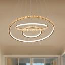 Beveled Crystal 3-Tier Hanging Chandelier Modern LED Gold Ceiling Lamp in 3 Color/Inner Warm Outer White/Inner White Outer Warm Light