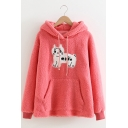Warm Cartoon Cat Pattern Pink Long Sleeve Pouch Pocket Fuzzy Teddy Drawstring Hoodie