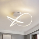 Spiral Acrylic Semi Flush Mount Light Fixture Simple White/Coffee LED Ceiling Light in Warm/White Light, 19.5