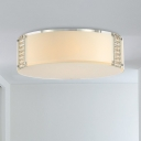Drum K9 Crystal Flush Light Fixture Simple Style 8 Heads Chrome Ceiling Light for Dining Room