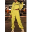 Hot Letter THANK U NEXT Print Long Sleeve Crop Loose Hoodie & Elastic Waist Pants Yellow Co-ords
