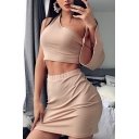 Apricot Pretty Solid Color Cutout Bell Sleeve Cropped Top with Mini Skirt Two Piece Set