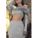 Warm Fluffy Panel Off Shoulder Long Sleeve Zip Front Crop Top with Midi Skirt Gray Co-ords