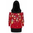 Stylish Christmas Jingle Bell Print Color Block Patch Cold Shoulder Long Sleeves Tunic Hoodie