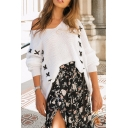 Women's Fashion White Blouson Sleeve Drop Shoulder Geometric Embroidered Oversize Pullover Sweater-Knit Top