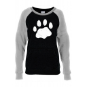 Lovely Footprint Pattern Raglan Long Sleeve Kangaroo Pocket Slim Fit Pullover Sweatshirt