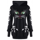 Funny Cartoon Cat Face Printed Long Sleeve Dual Pocket Slim Fit Bear Ear Hoodie