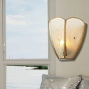 Opal Glass Flush Sconce Light Vintage Style 1 Bulb Floral Wall Mount Lighting in Gold