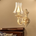1/2 Bulbs Wall Light Sconce Colonial Style Scrolled Arm Metallic Wall Mount Lighting in Gold