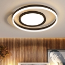 Round Ceiling Lamp Contemporary Metal Black-White LED Flush Light Fixture in Remote Control Stepless Dimming/Warm/White Light, 16