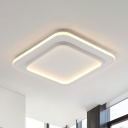 White Square Flush Light Simple Style Acrylic 18