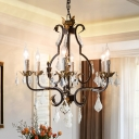 Metal Curved Arm Hanging Chandelier Traditional 6 Bulbs Antique Bronze Suspended Lighting Fixture with Clear Crystal Teardrop