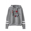 Girls' Fashion Long Sleeve Drawstring Letter NOTHING Rose Printed Baggy Varsity Striped Hoodie