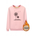 Preppy looks Long Sleeve Dandelion Graphic Fluff Liner Loose Pullover Sweatshirt for Student Girls