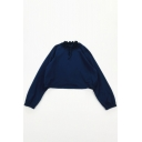 Cute Girls Solid Color Stringy Selvedge Tie Neck Long Sleeve Oversized Sweatshirt