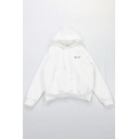 Simple Letter SPECIAL Printed Long Sleeve Plain Thick Drawstring Hoodie