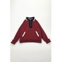 Preppy Style Contrast Trim Lapel Collar Long Sleeve Half Zip Front Loose Retro Sweatshirt