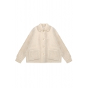 Lovely Girls' Long Sleeve Lapel Neck Button Down Patched Pockets Sherpa Baggy Jacket in Apricot