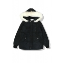Winter Stylish Women's Long Sleeve Hooded Pockets Side Zip Press Button Front Sherpa Patched Baggy Plain Parka Coat