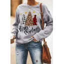 Grey Fashion Long Sleeve Crew Neck MERRY CHRISTMAS Letter Christmas Tree Print Relaxed Pullover Sweatshirt for Women