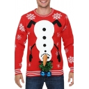 Funny Snowman Upside Down with Balls Pattern Long Sleeve Round Neck Red Christmas Sweater