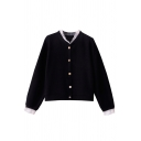 Black Pretty Long Sleeve V-Neck Pearl Button Down Lace Trim Purl-Knitted Loose Fit Cardigan for Ladies