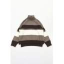 Simple Wide Striped Pattern Long Sleeve Turtle Neck High Low Hem Loose Fit Casual Sweater