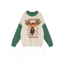 New Stylish MERRY CHRISTMOOSE Elk Pattern Color Block Long Sleeve Baggy Christmas Sweater