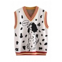 Funny Letter WOW Spotty Dog Print Contrast Trim V-Neck Oversized Knitted Vest