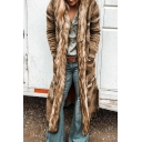 Ethnic Vintage Long Sleeve Hooded Floral Printed Fuzzy Patched Maxi Boxy Coat for Women