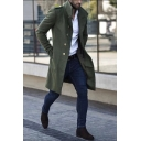 Mens Popular Solid Color Long Sleeve Metal Buckle Decoration Longline Wool Coat
