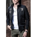 New Fashion Eagle Badge American Flag Print Stand Collar Zip Placket Slim Fit Leisure Jacket