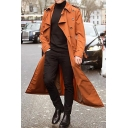 Stylish Solid Color Long Sleeve Button Embellished Longline Trench Coat