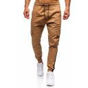 Mens Simple Striped Printed Drawstring Waist Side Flap Pocket Ankle Banded Pants